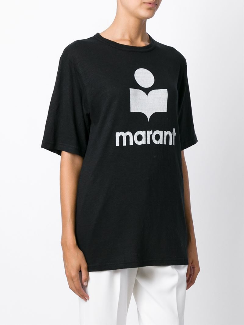 lyst toile isabel marant logo print t shirt in black