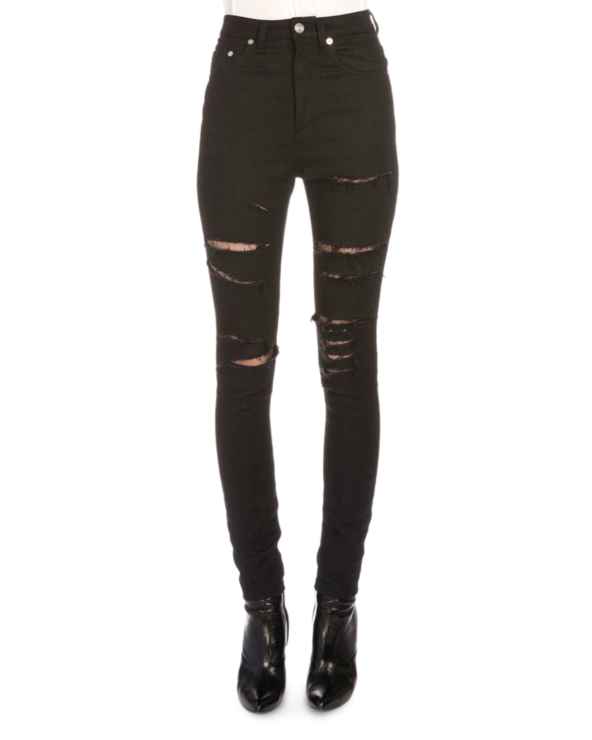 Saint laurent Fishnet-inset Distressed High-waist Jeans in Black ...
