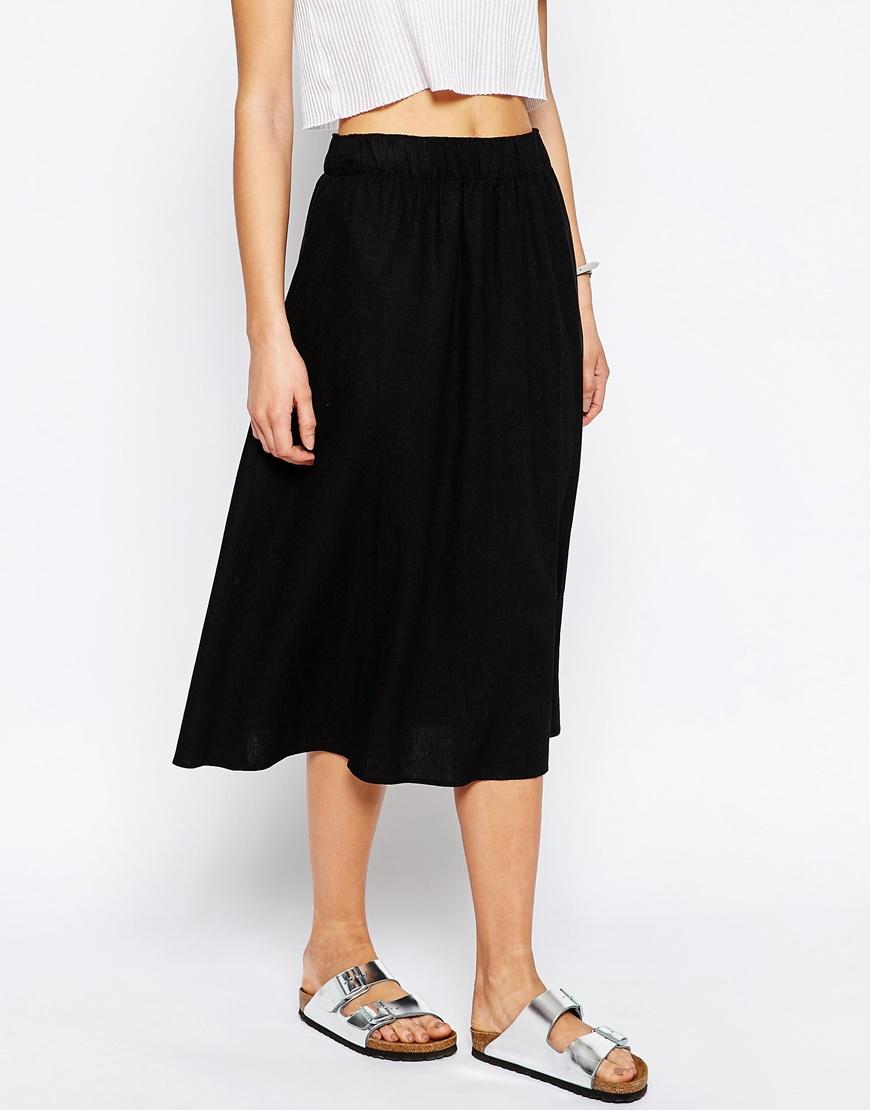 asos midi skirt in linen in black lyst