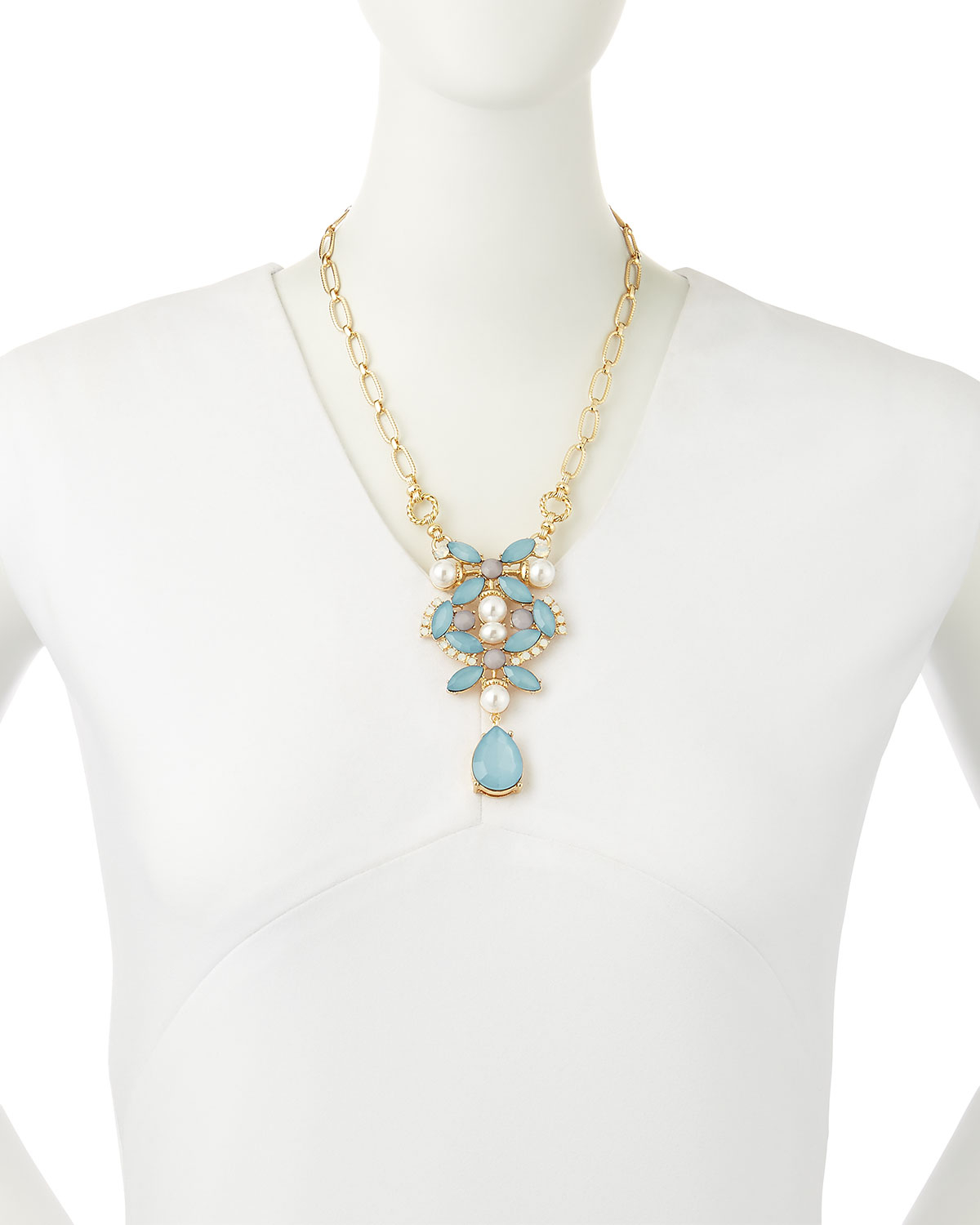 r j graziano floral cluster necklace in blue lyst
