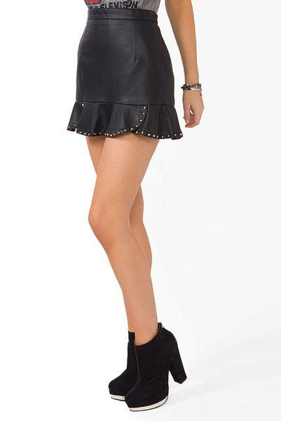 forever 21 studded faux leather mini skirt in black lyst