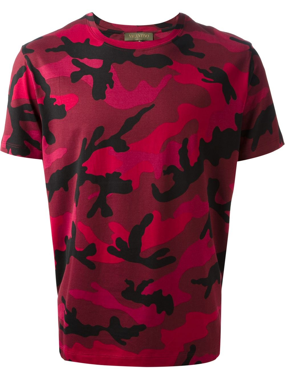 Valentino camouflage tshirt in red for men lyst for Red valentino t shirt