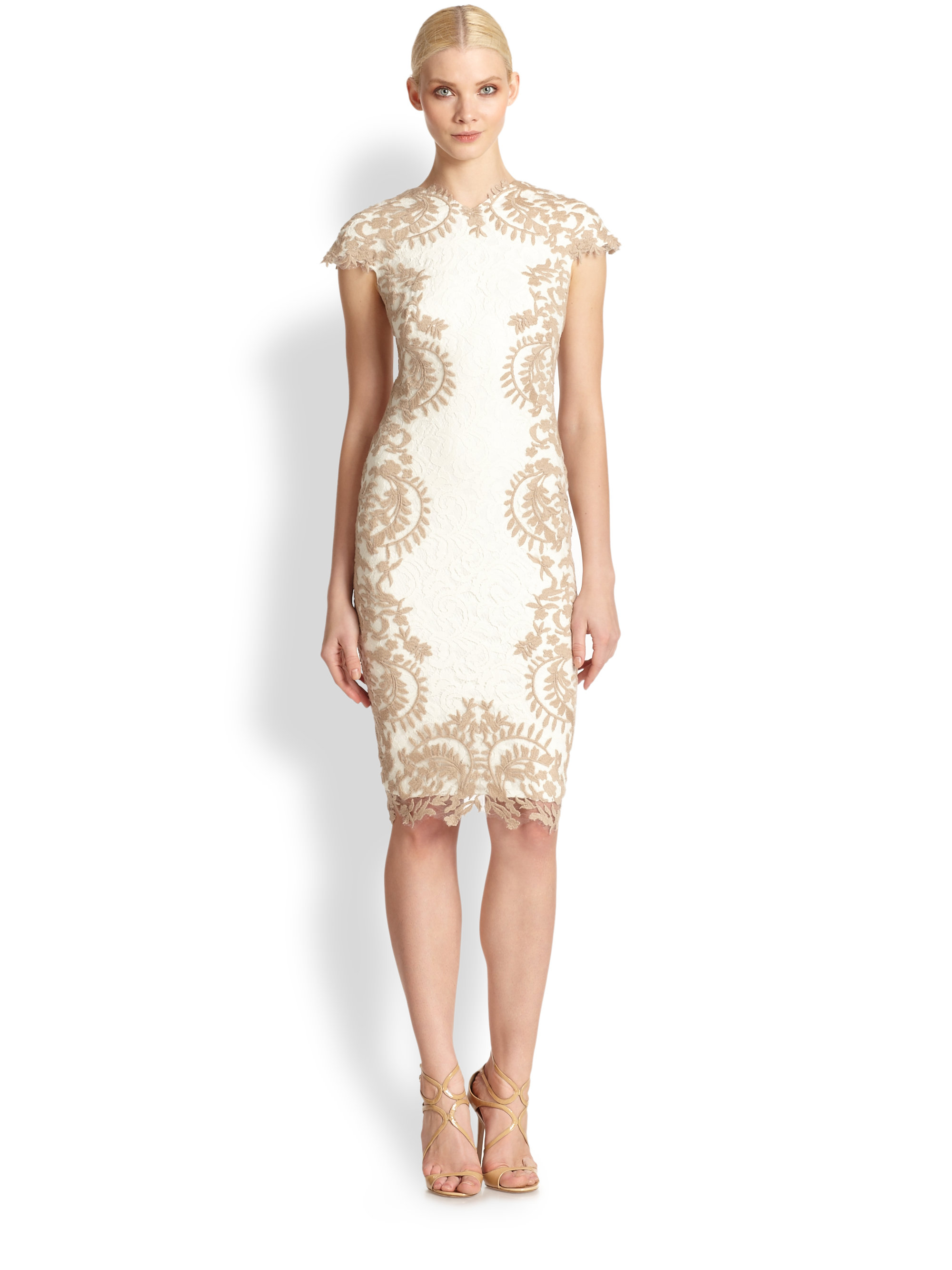 Tadashi shoji Embroidered Cocktail Dress in Natural | Lyst