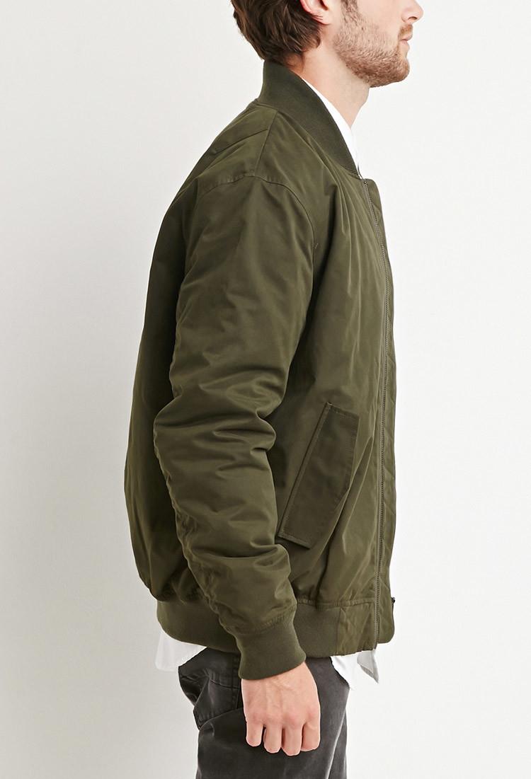 Forever 21 Padded Bomber Jacket in Green for Men   Lyst