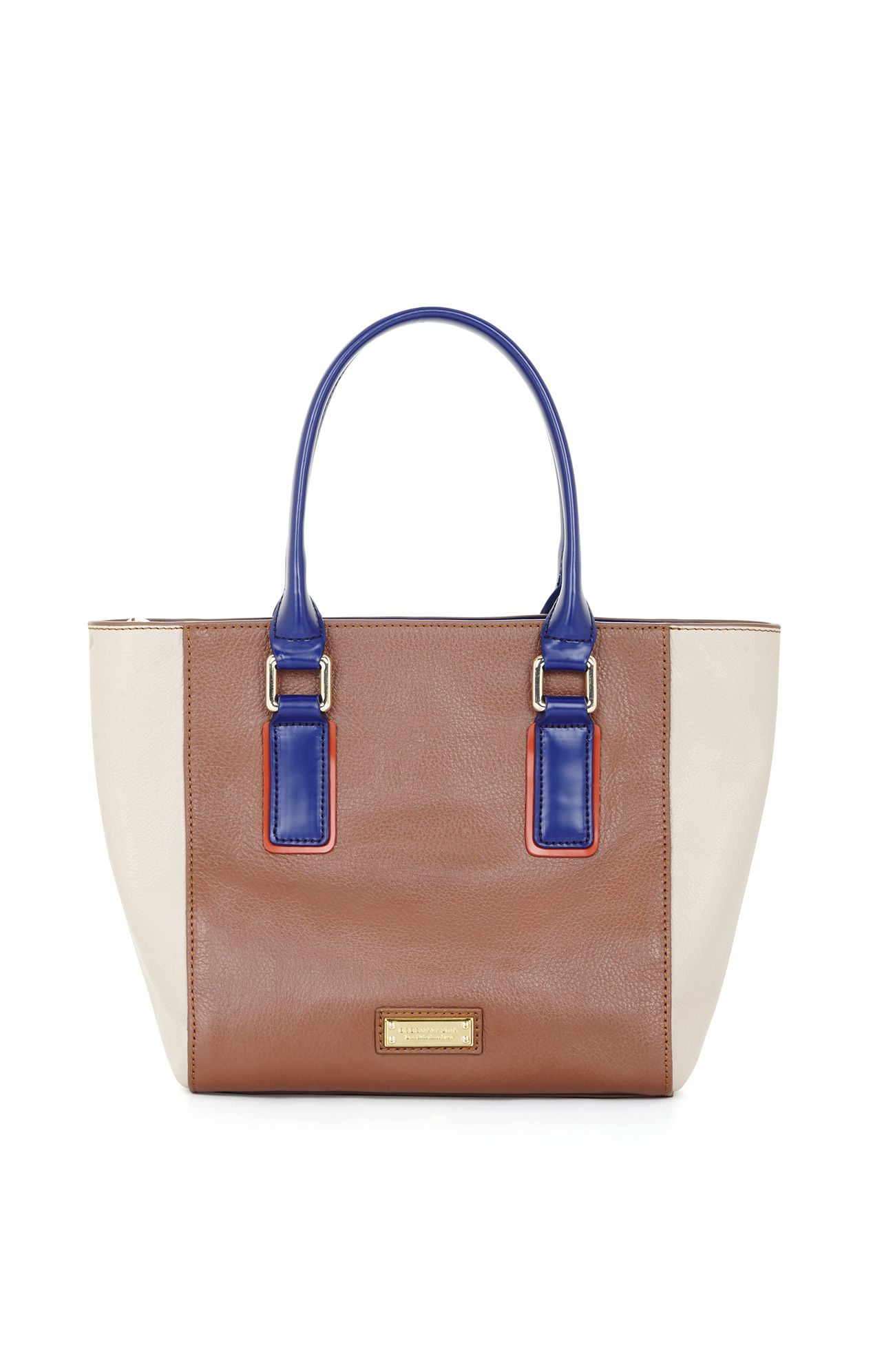 Bcbgmaxazria Mini Ursula Color-blocked Leather Tote in Brown - Lyst 1645c6bb873b7