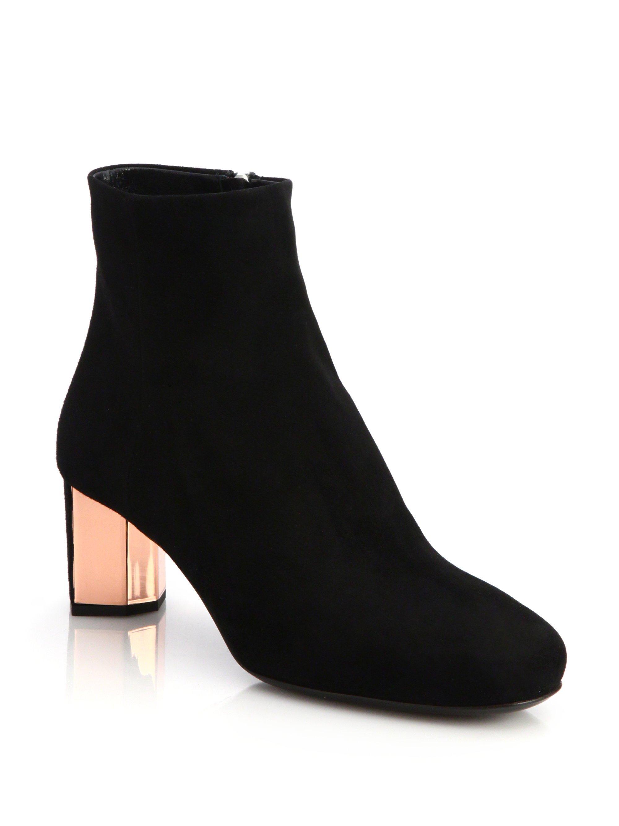 d5efef6d1c1e Lyst - Prada Suede Metal-heel Ankle Boots in Black