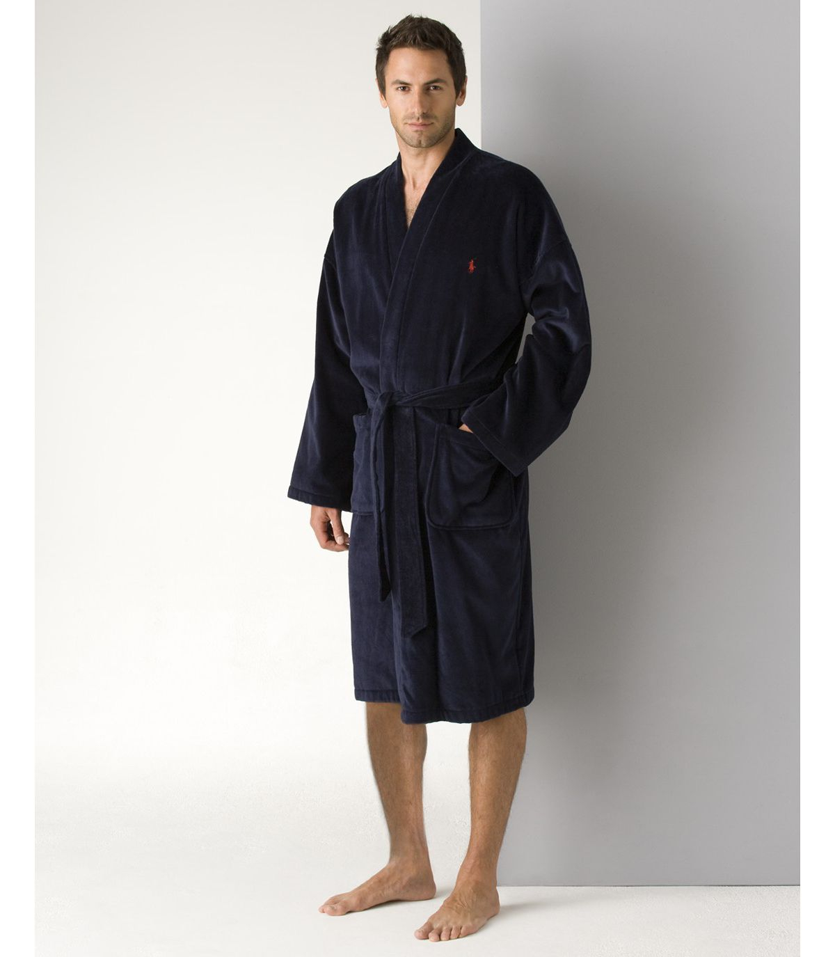 polo ralph lauren men 39 s kimono cotton velour robe in blue for men lyst. Black Bedroom Furniture Sets. Home Design Ideas