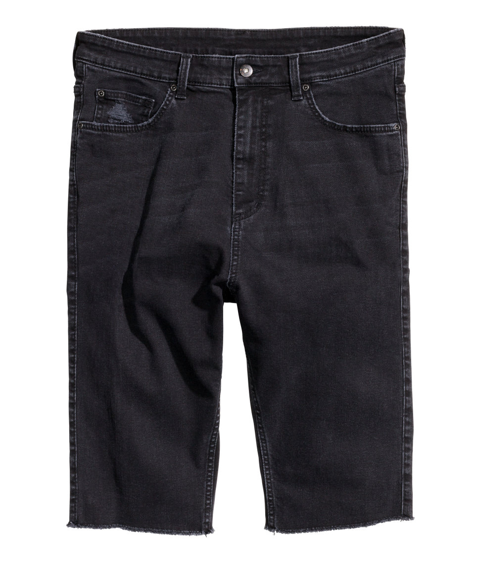 Lyst - Hu0026M Long Denim Shorts in Black for Men