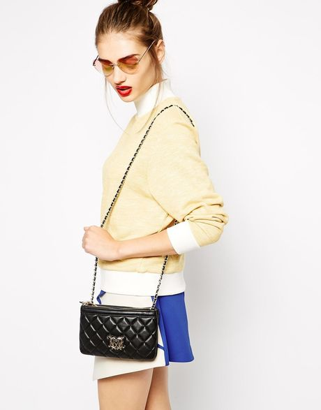 Zenith Quilted Shoulder Bag With Chain Black 75
