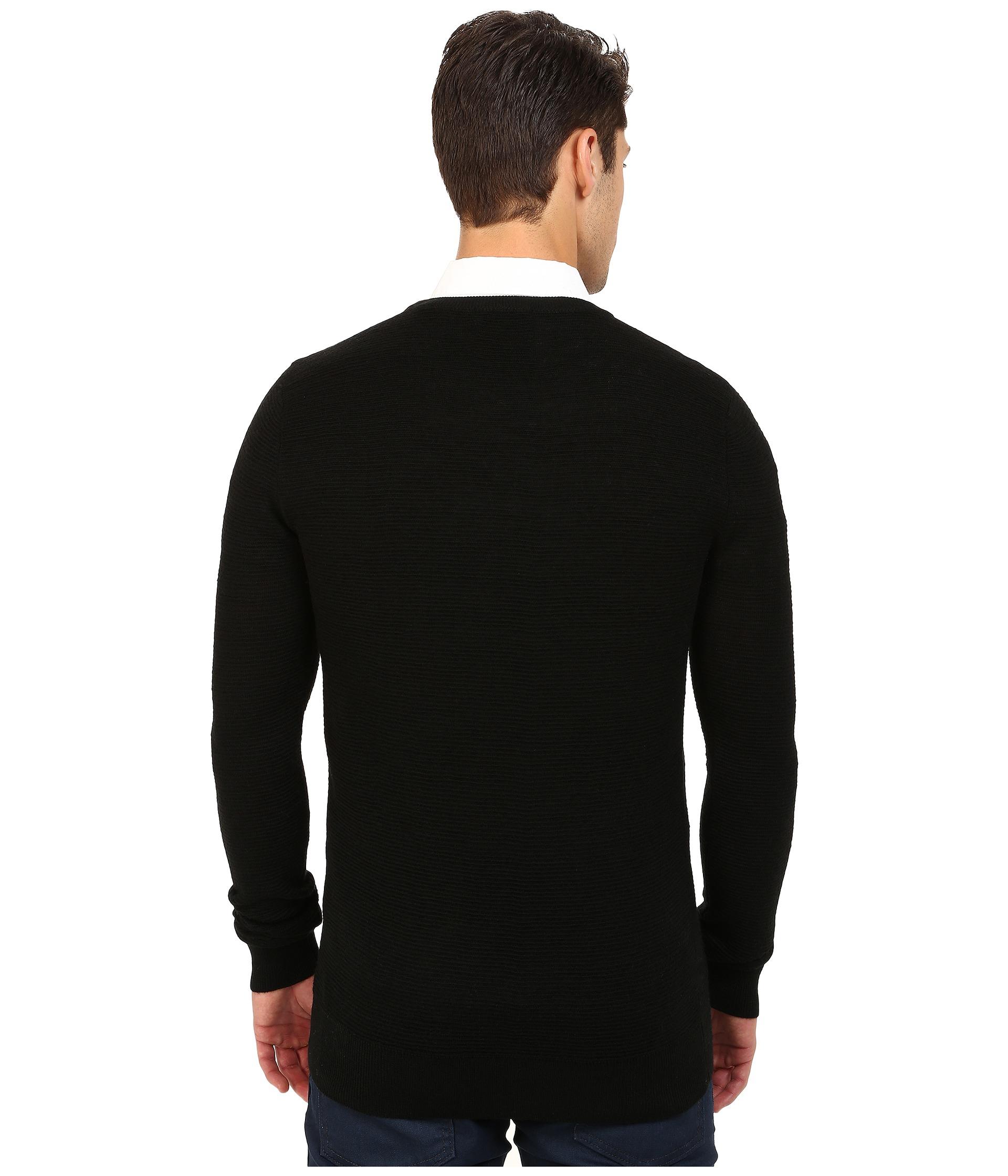 scotch soda crew neck ribbed knit pullover in black for. Black Bedroom Furniture Sets. Home Design Ideas