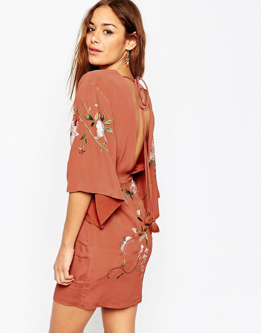 Lyst Asos Embroidered Kimono Sleeve Mini Dress In Pink
