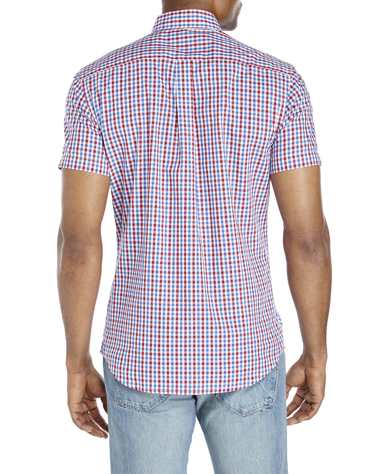 Lyst Dockers Blue Red Gingham Button Down Shirt In