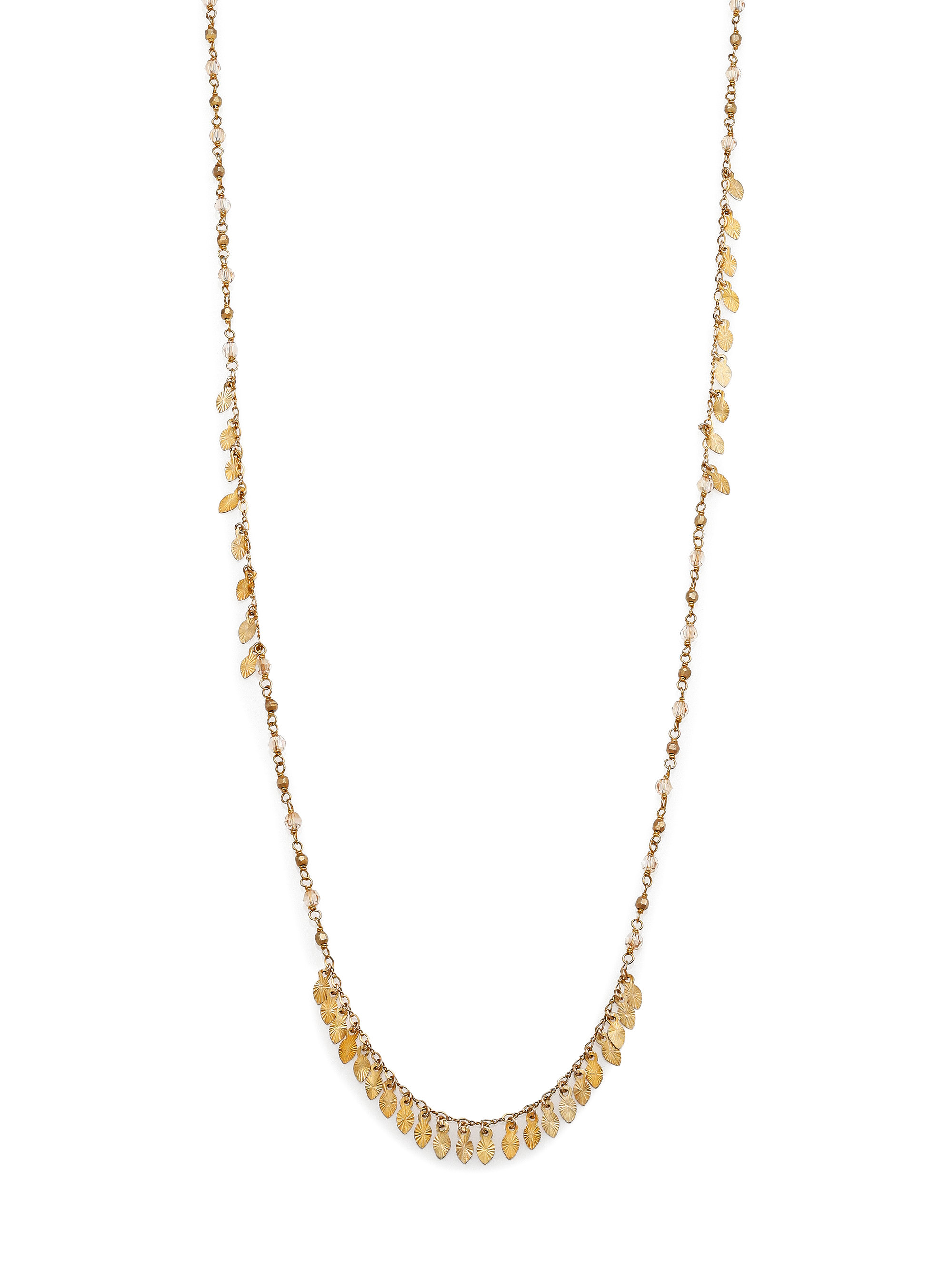 chan luu beaded leaf fringe necklace in metallic
