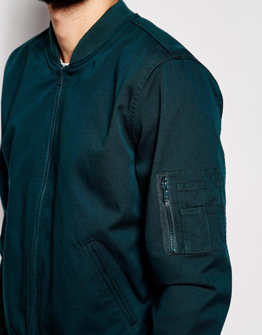 Asos Bomber Jacket In Teal in Blue for Men | Lyst