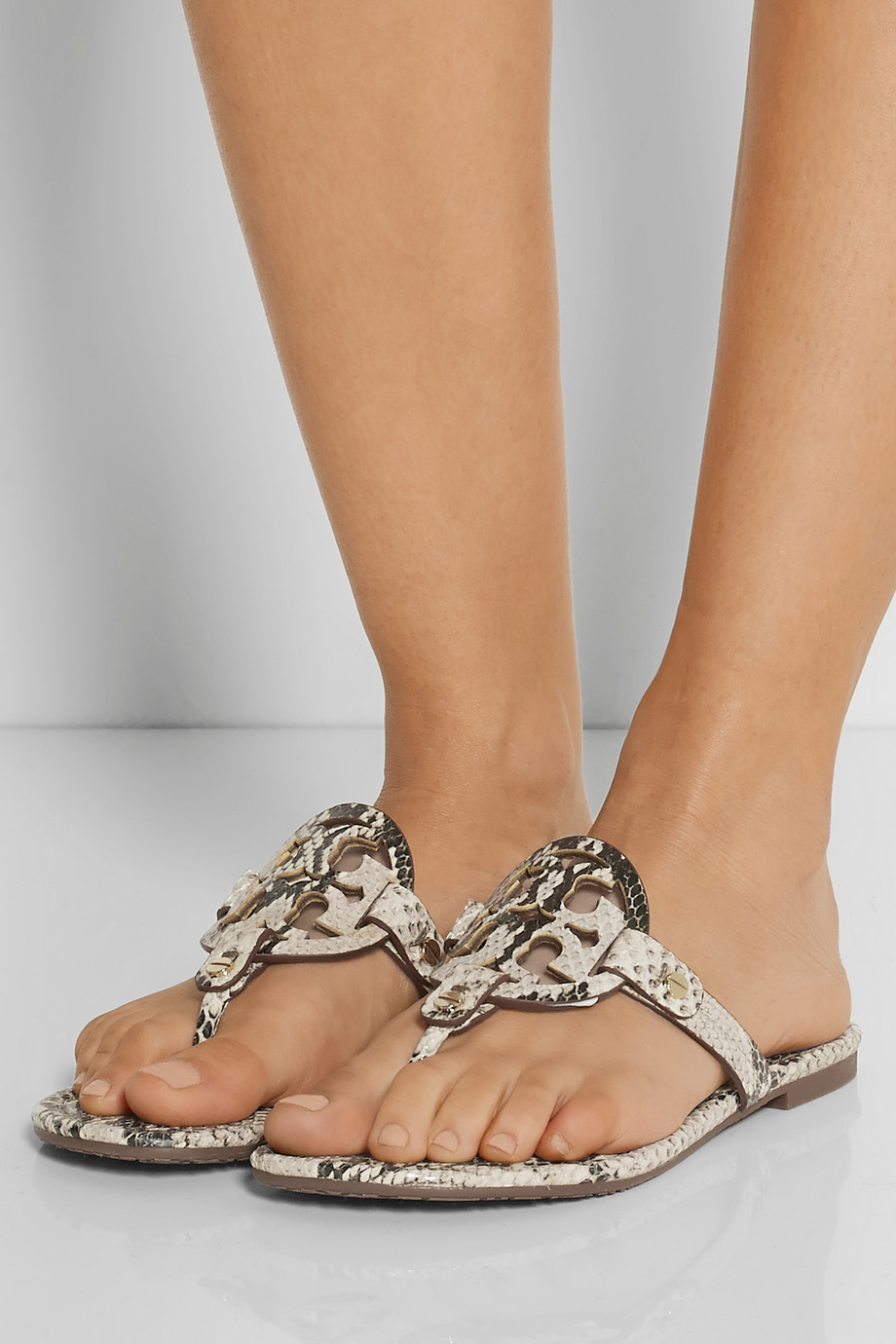 a8c49acd887c8 Tory Burch Miller Snake-Effect Leather Sandals in Natural - Lyst