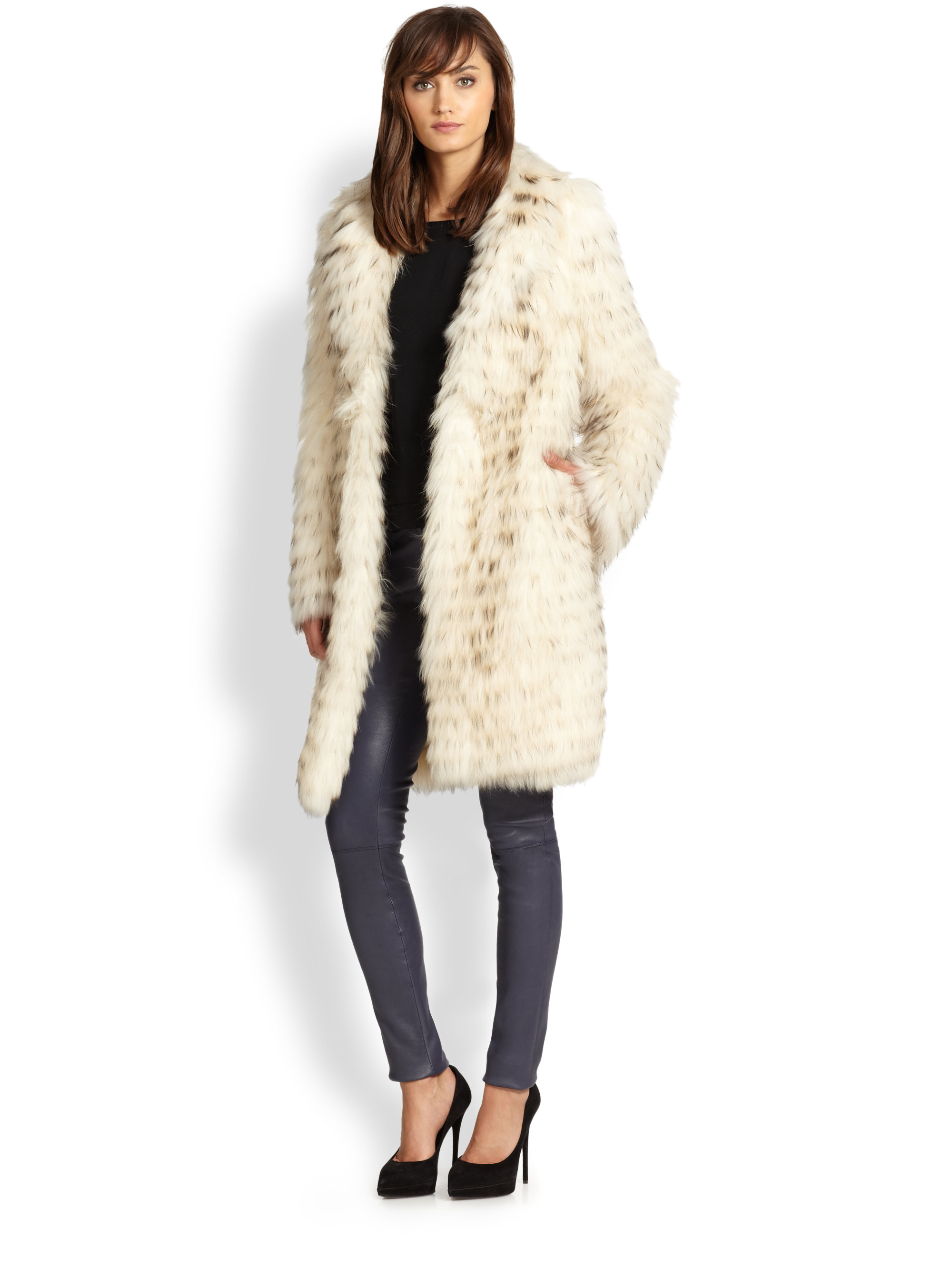 Alice Olivia Kayla Long Fur Coat In Natural Lyst