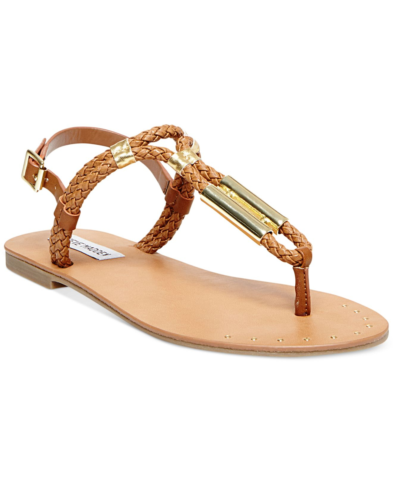 e056aadc8d69 Lyst - Steve Madden Braidie Flat Thong Sandals in Brown