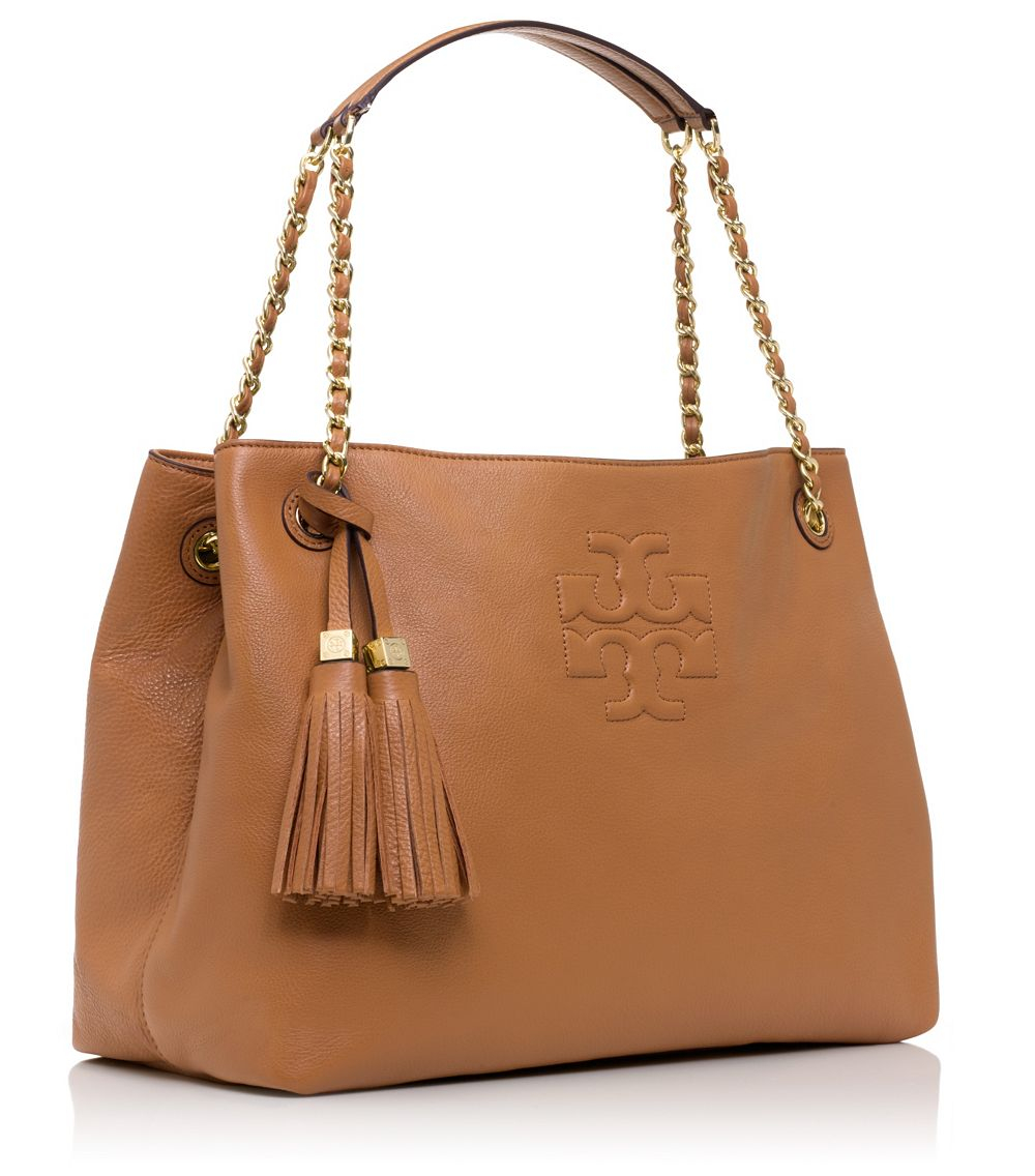 5e7019b4cd6 Lyst - Tory Burch Thea Chain Leather Tote in Brown