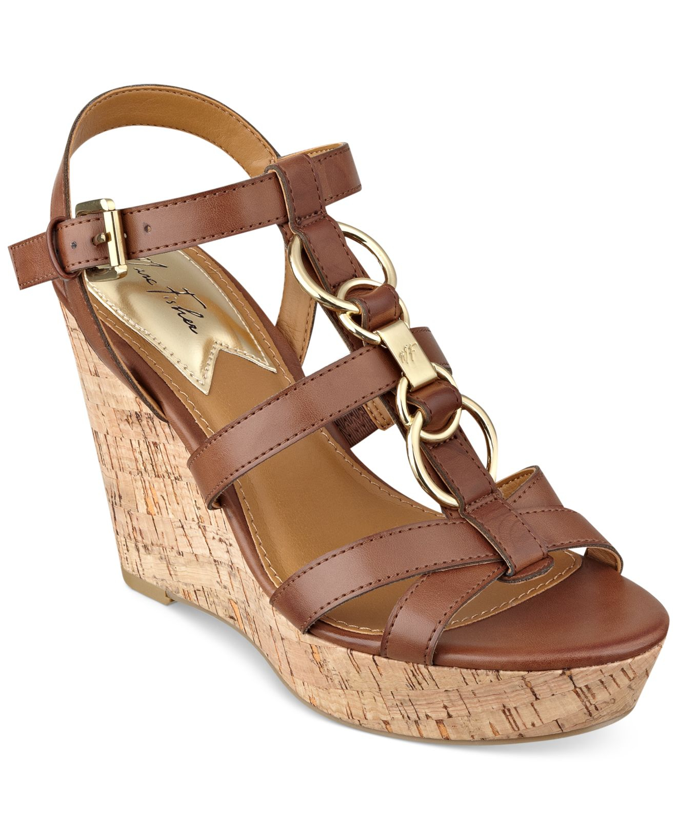 marc fisher genre platform wedge sandals in brown lyst
