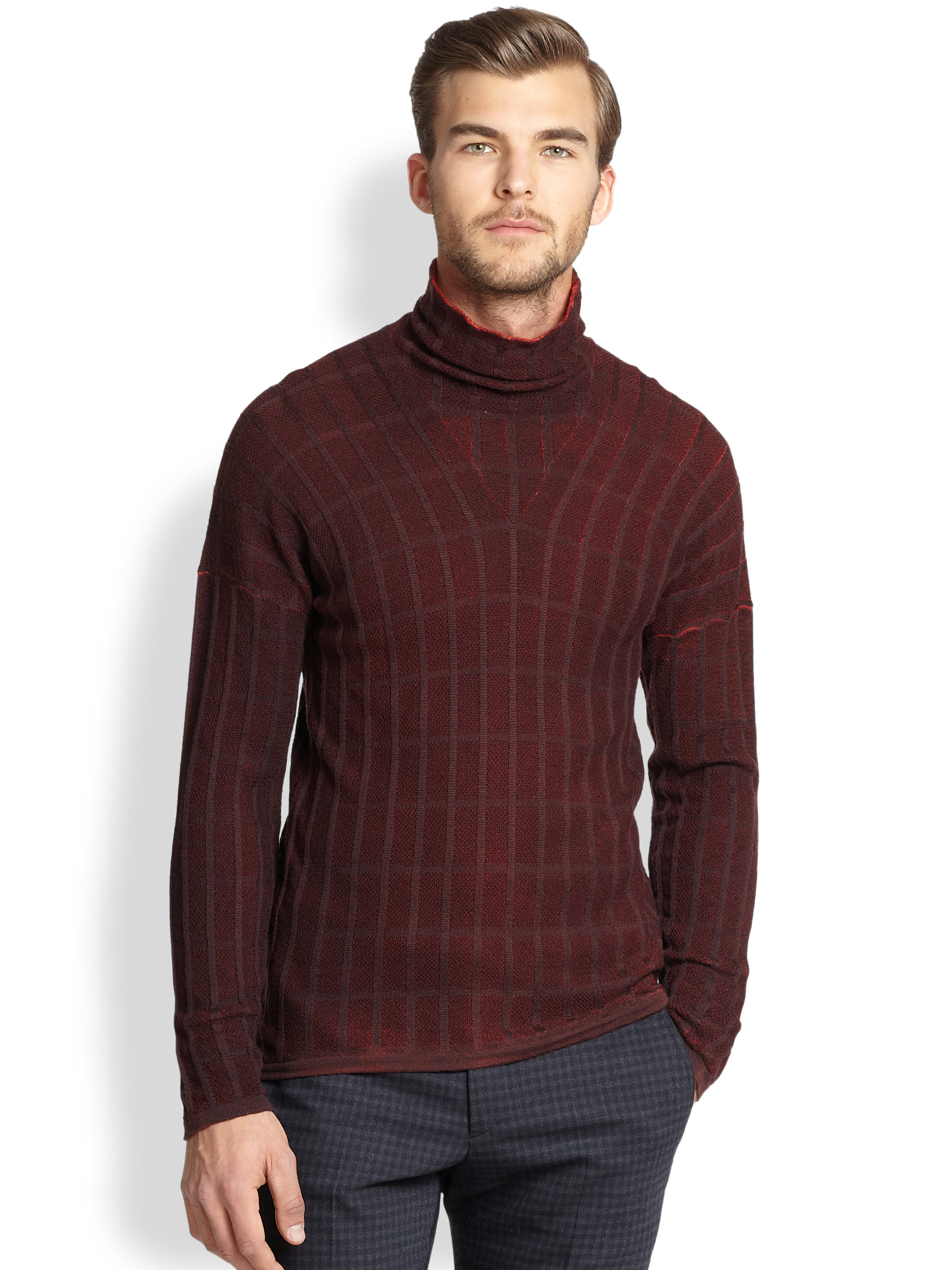 Lyst Armani Turtleneck Sweater In Brown For Men
