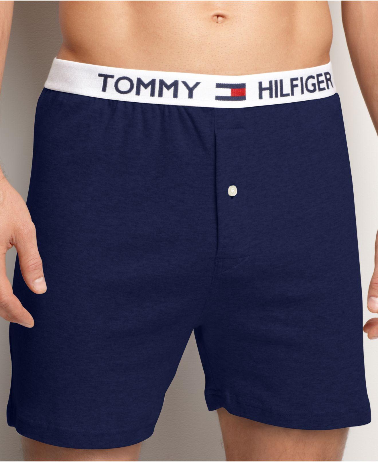 tommy hilfiger athletic knit boxer in blue for men masters navy save 40 lyst. Black Bedroom Furniture Sets. Home Design Ideas
