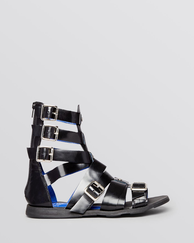 71fd71f45d2c Lyst - Jeffrey Campbell Flat Gladiator Sandals - Daxos Buckle in Black