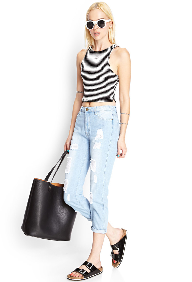Gallery. Women's Boyfriend Jeans - Forever 21 Ripped Boyfriend Jeans In Blue Lyst