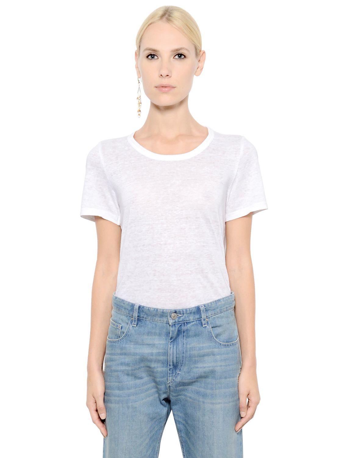 Toile isabel marant linen jersey t shirt in white lyst for Isabel marant t shirt sale