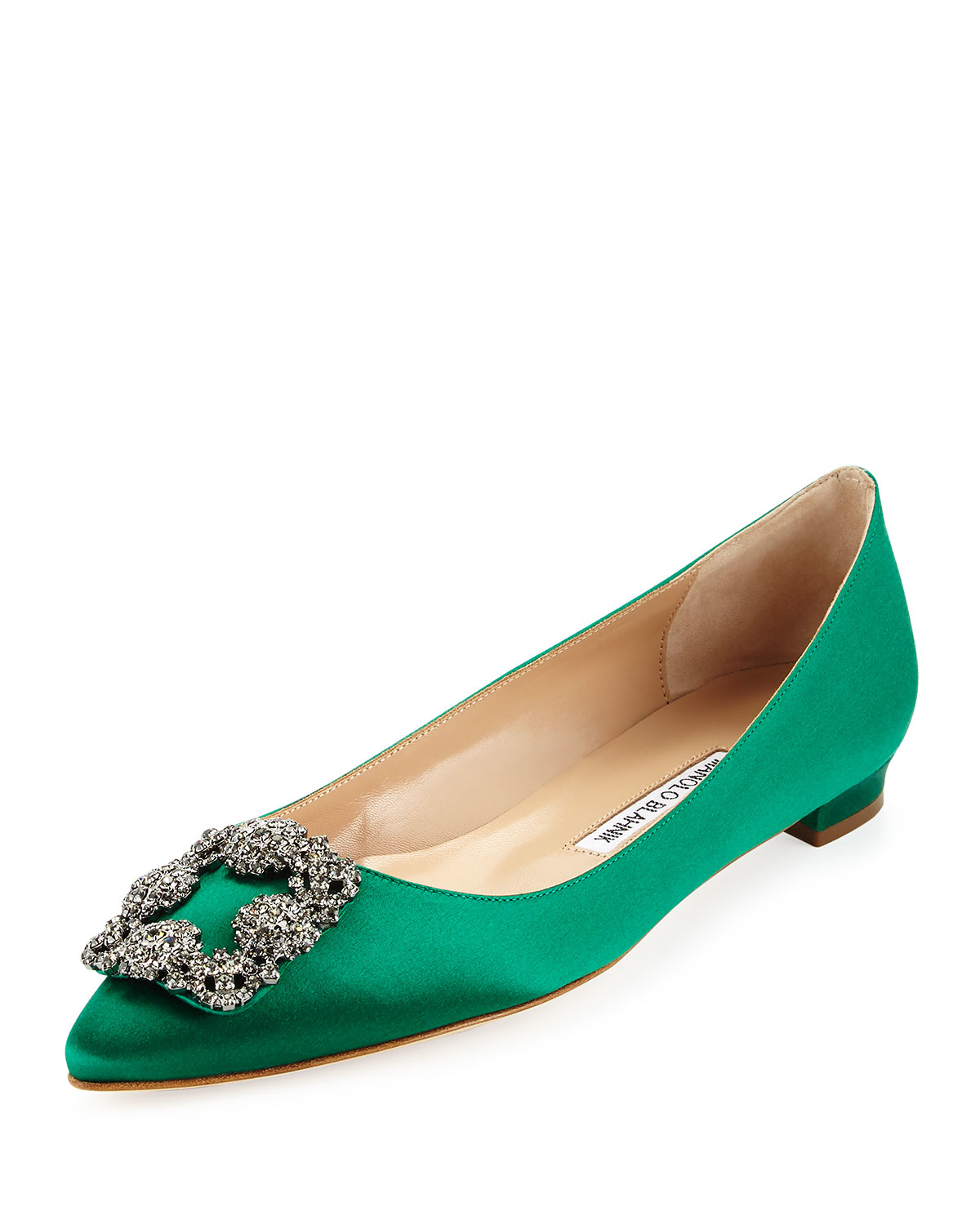Lyst manolo blahnik hangisi crystal buckle satin flat in for Shoes by manolo blahnik