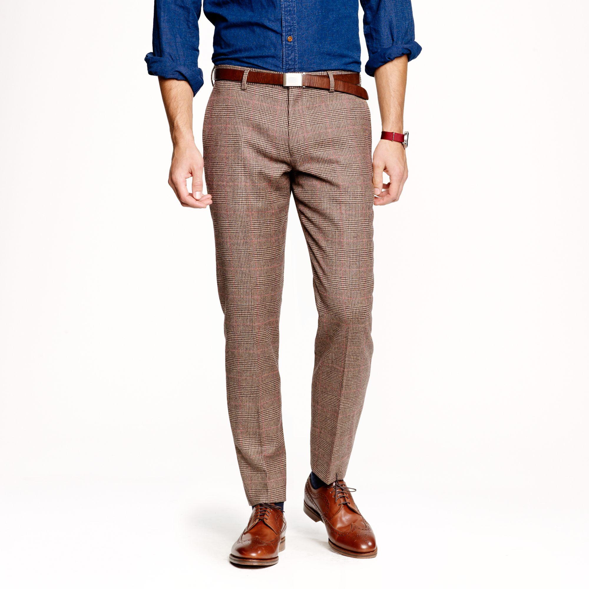 J.crew Lud Low Slim Suit Pant in Glen Plaid English Wool in Brown ...