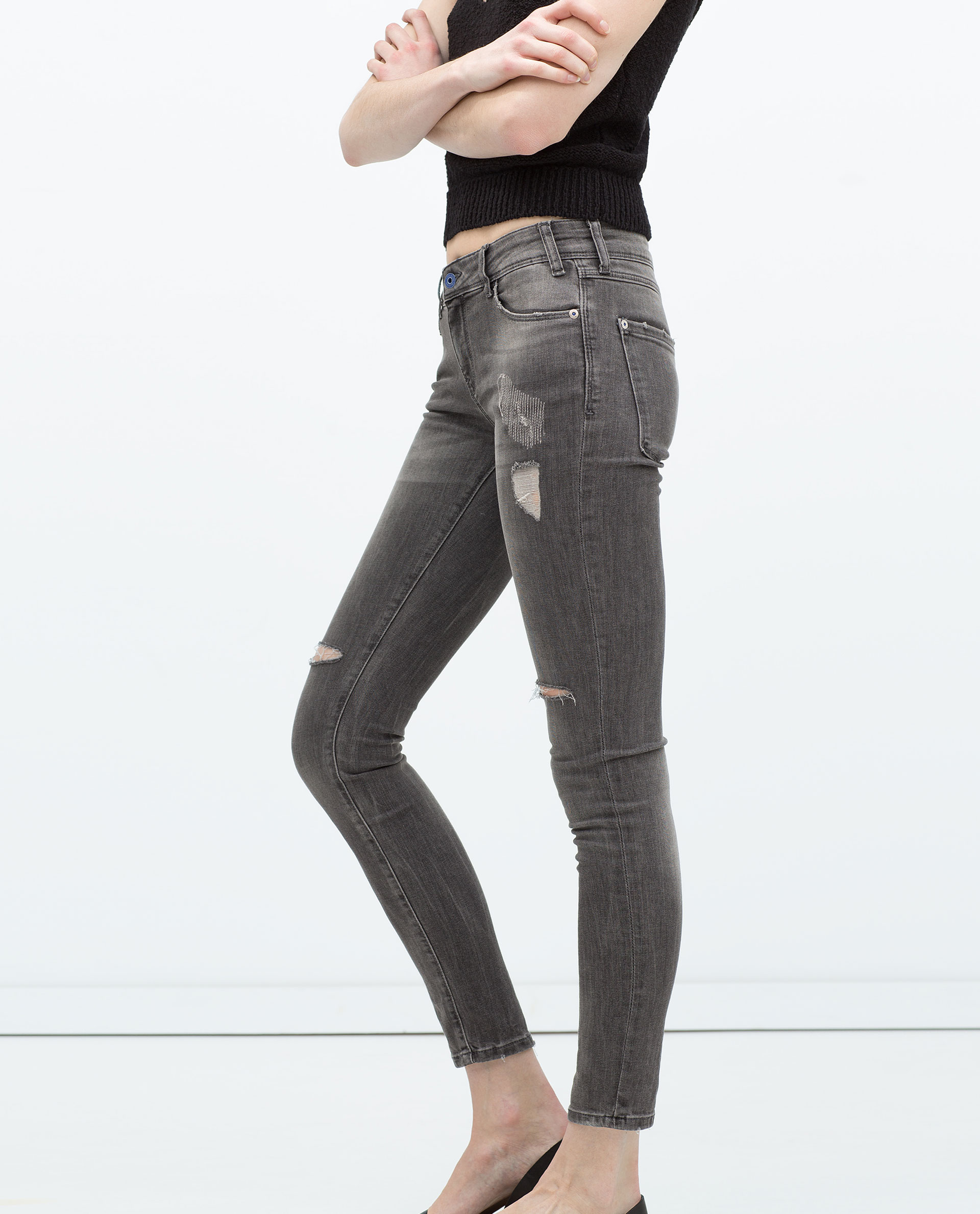 Zara Distressed Jeans in Gray   Lyst