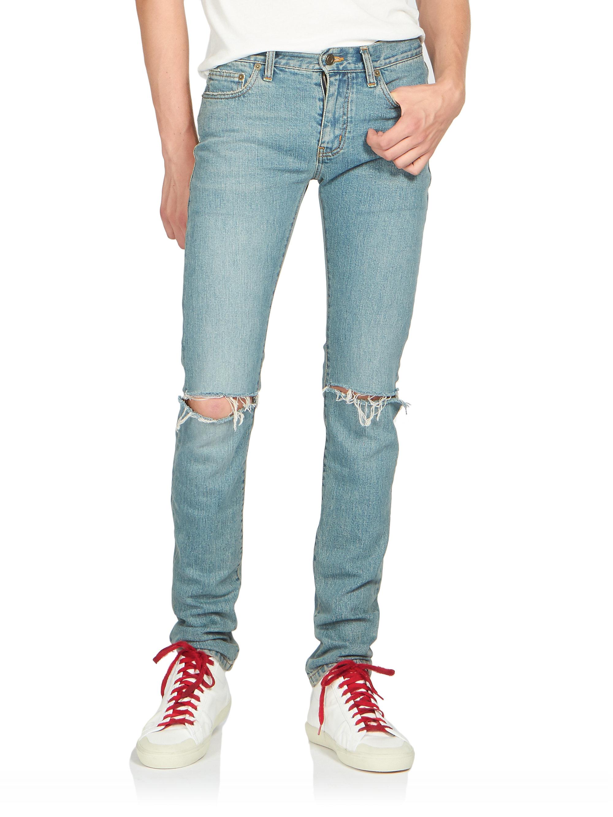 Saint laurent Crash Distressed Skinny Jeans in Blue for Men | Lyst