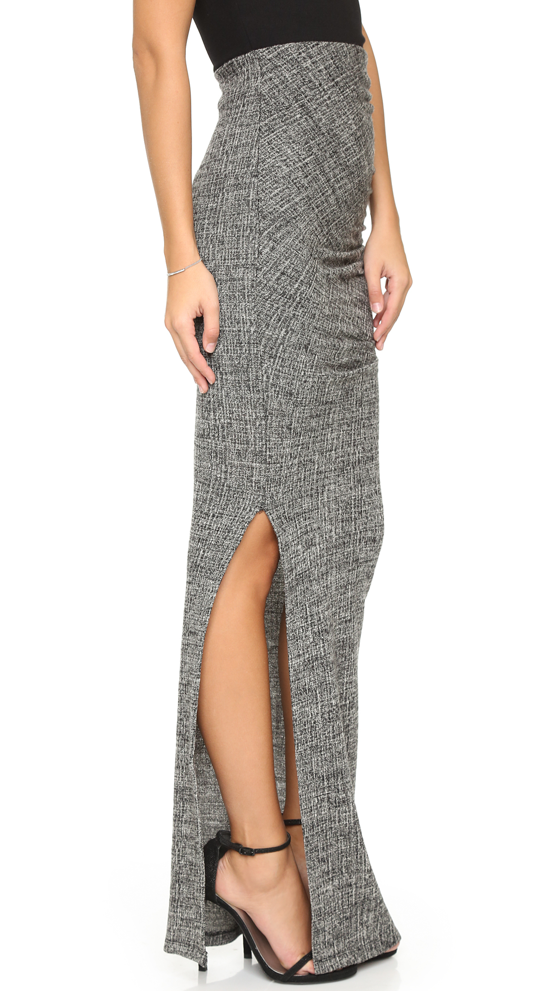 Alice   olivia Octavia Fitted Maxi Skirt - Grey Multi in Gray | Lyst