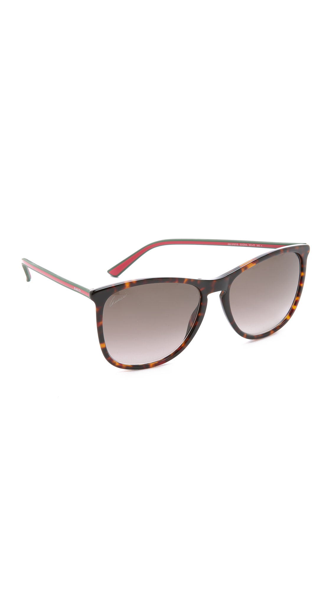 Gucci Thin Frame Sunglasses - Black/Grey Gradient in Red ...