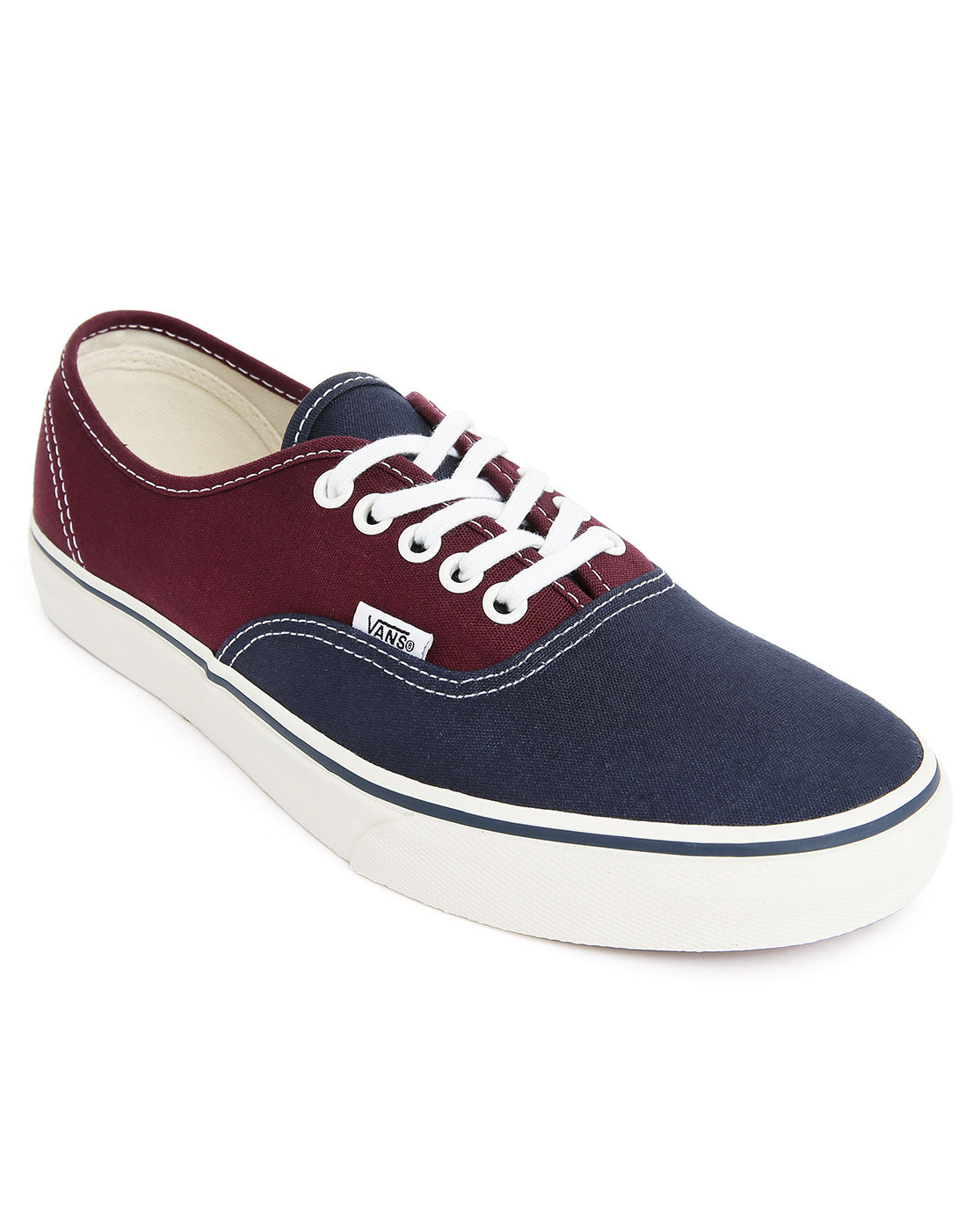 vans navy blue and burgundy twotone authentic sneakers in