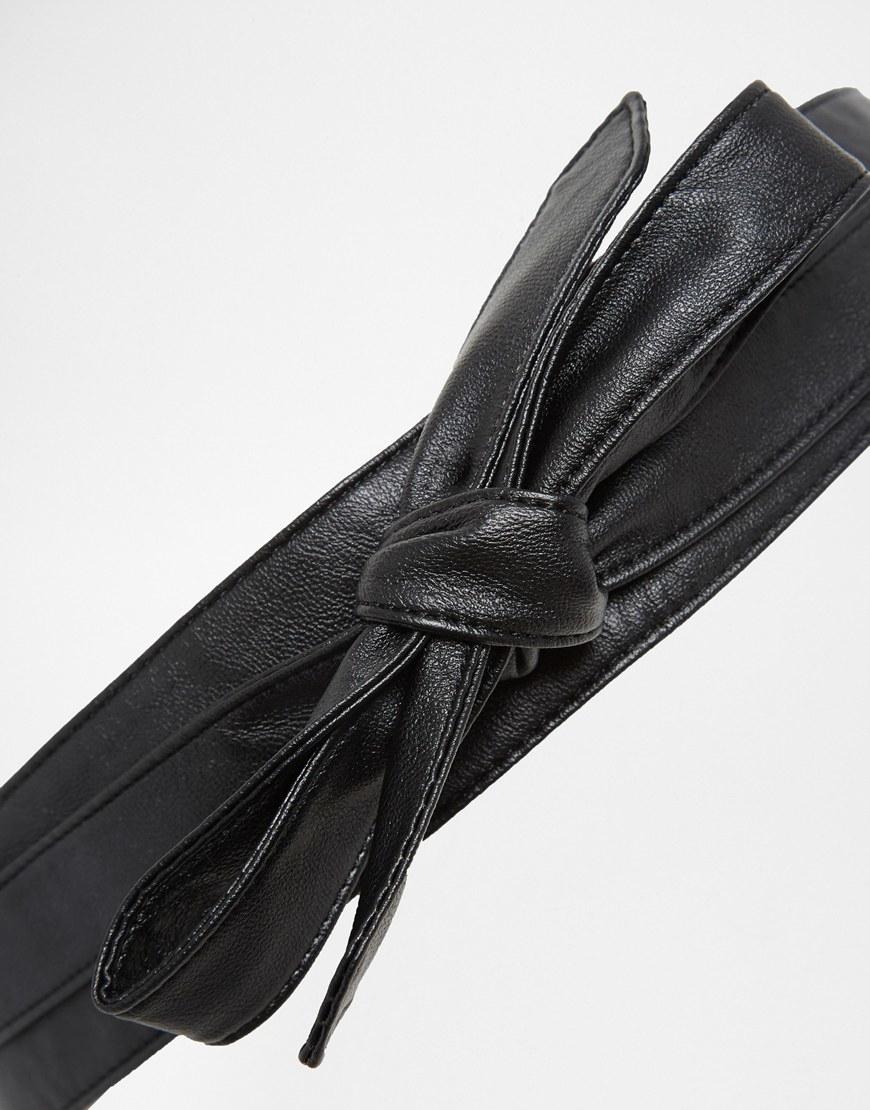 asos kimono obi belt in black faux leather in black for