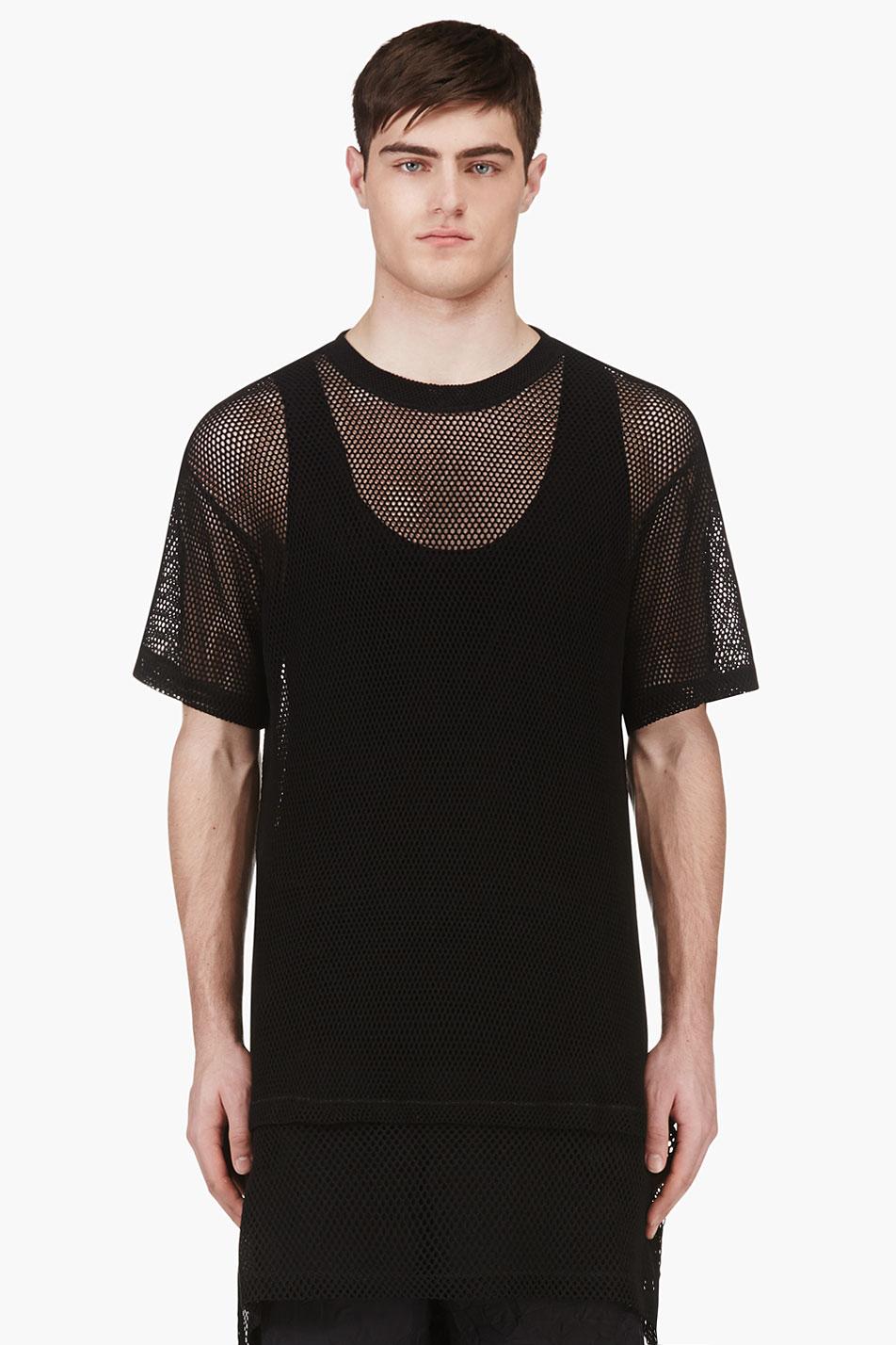 ktz black oversized mesh t shirt in black for men lyst