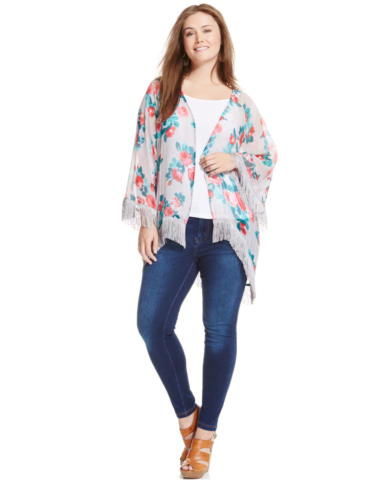 Jessica Simpson Plus Size Floral Print Fringed Kimono