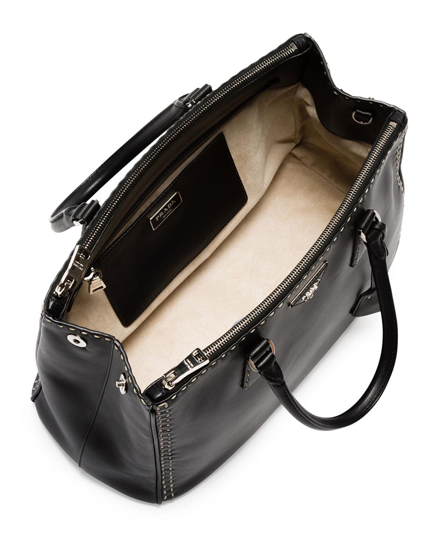 Lyst - Prada City Calf Double-Zip Executive Tote Bag in Black 4aa8b97214012