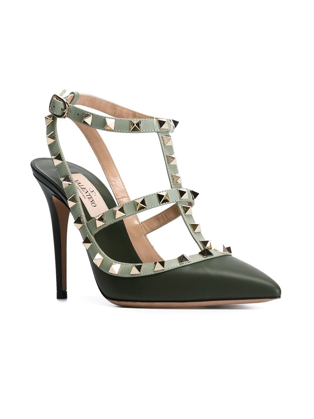 valentino 39 rockstud 39 pumps in green lyst. Black Bedroom Furniture Sets. Home Design Ideas