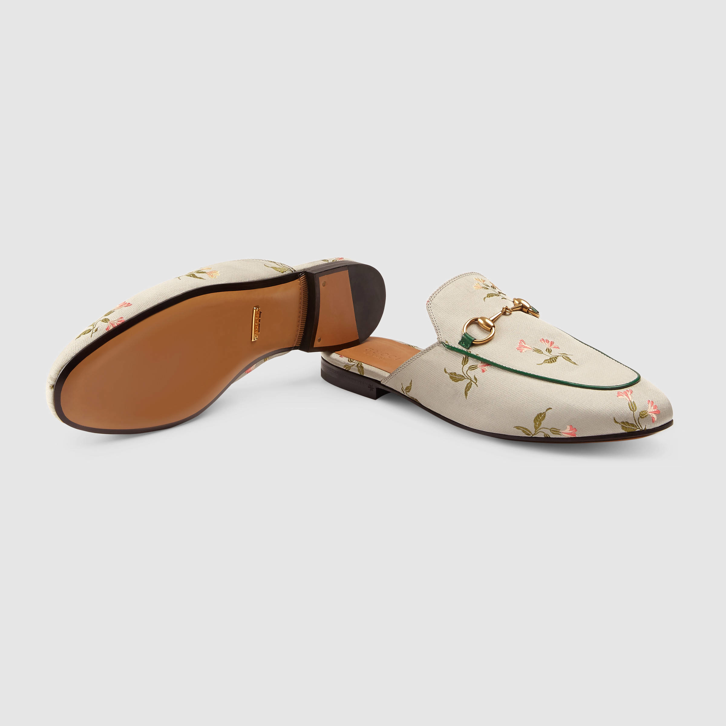 Gucci Princetown Floral Duchesse Mules in Floral (Floral duchesse ...