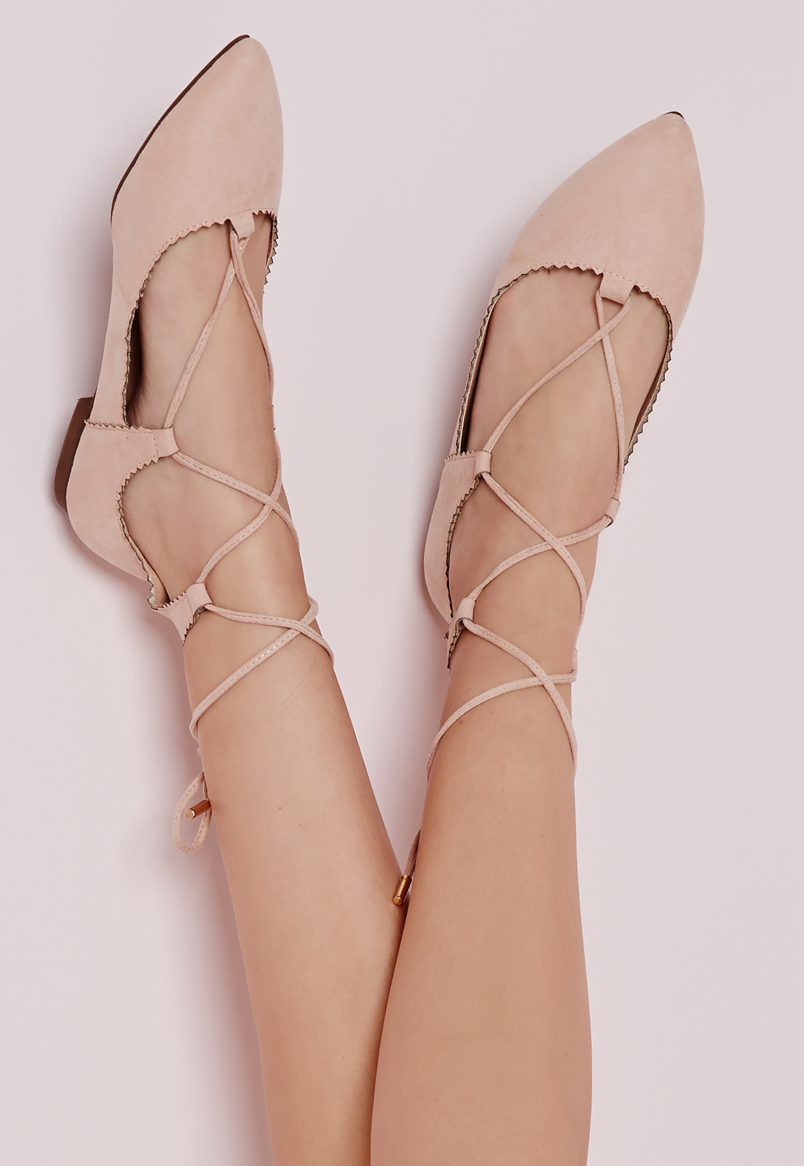b5ab5d38298d Lyst - Missguided Scallop Edge Lace Up Flats Blush in Pink
