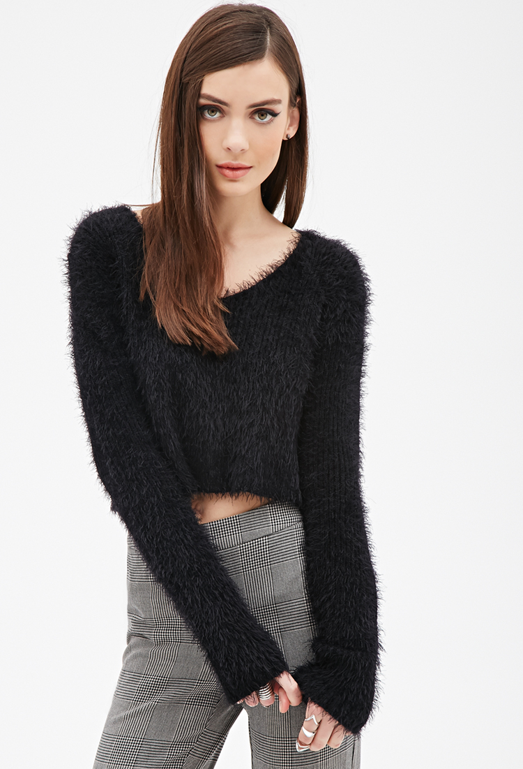 Forever 21 Fuzzy V-neck Sweater in Black | Lyst