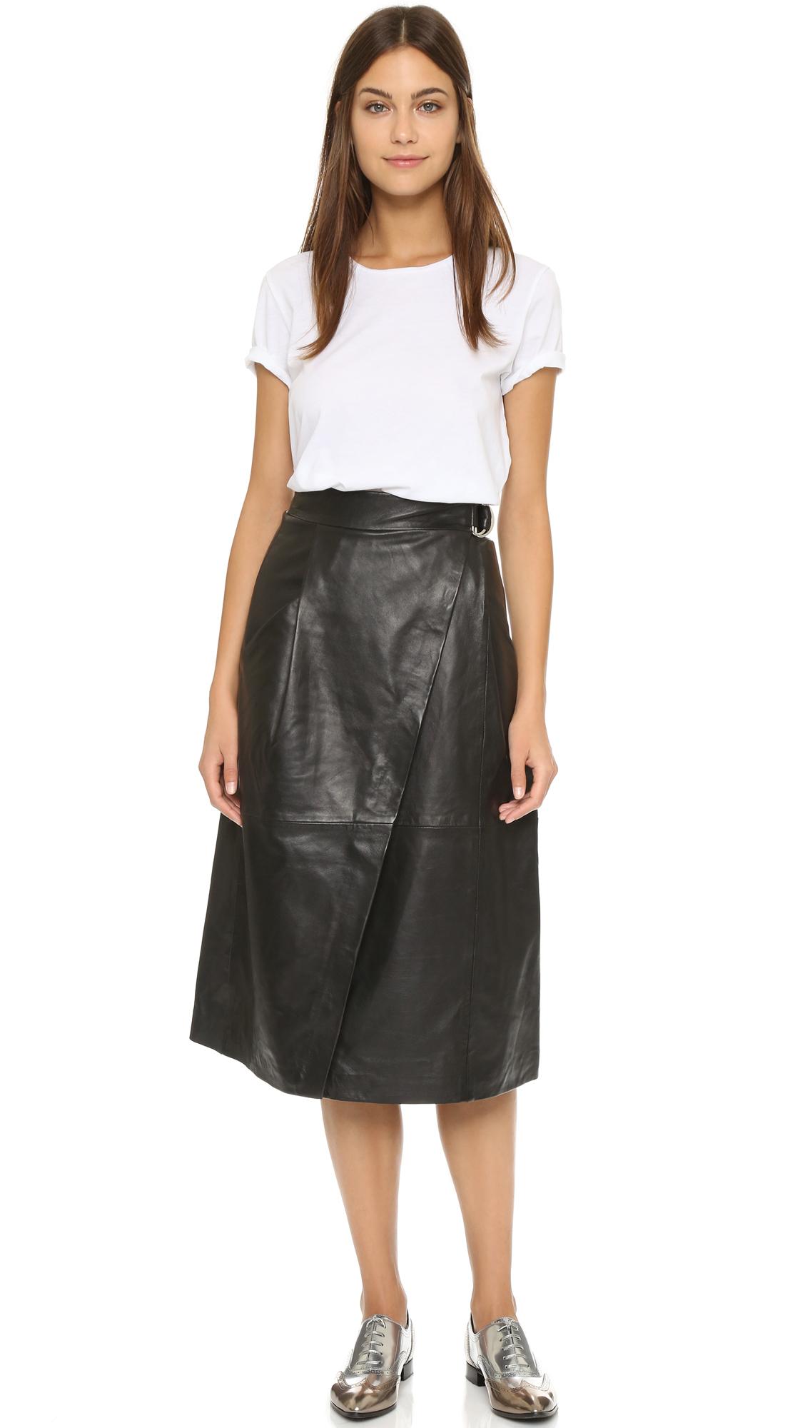 whistles wrap leather midi skirt black in black lyst