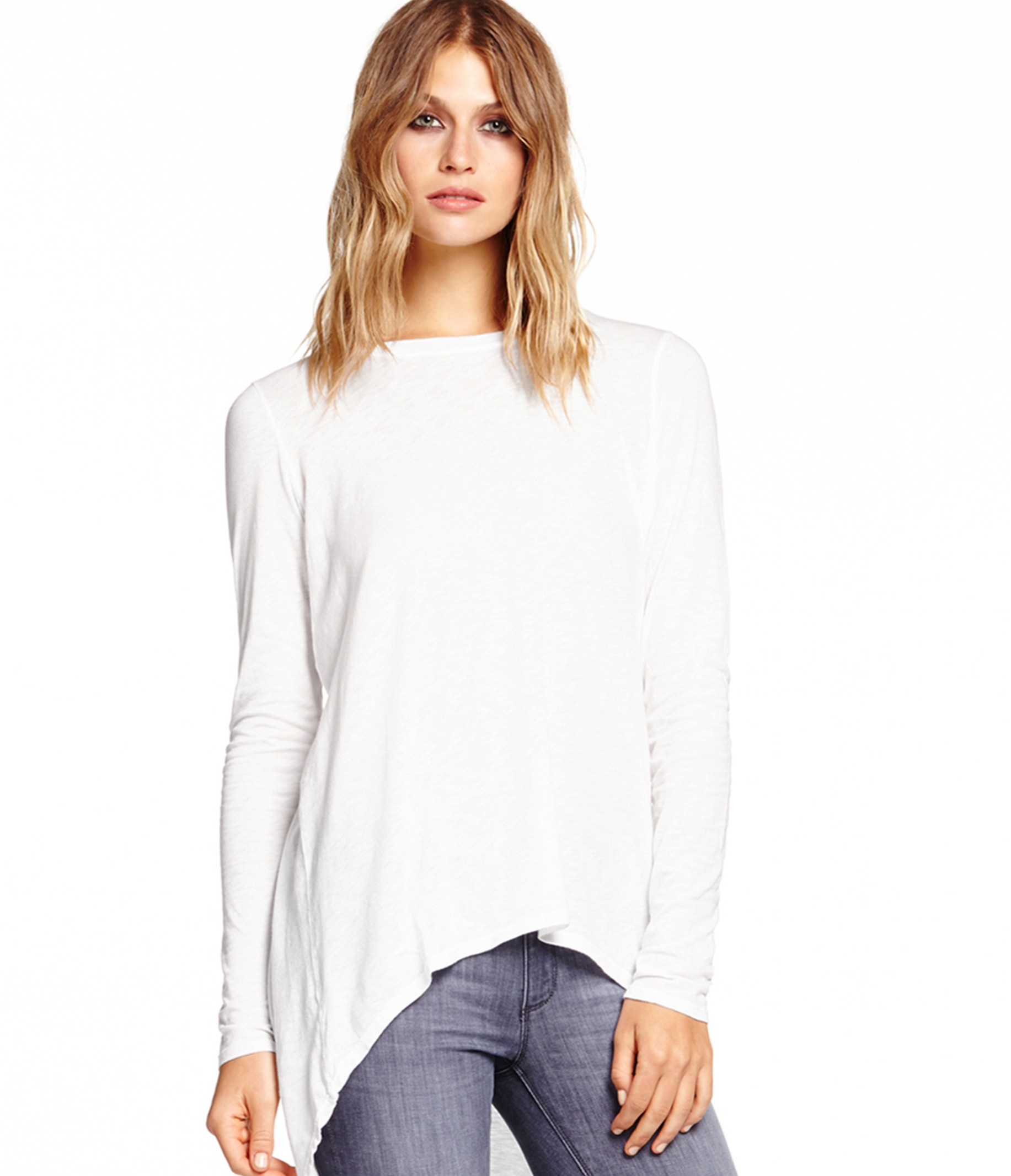 Michael stars long sleeve hi low top in white lyst for Michael stars t shirts on sale