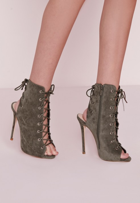 Missguided Peep Toe Lace Up Ankle Boots Khaki in Green | Lyst