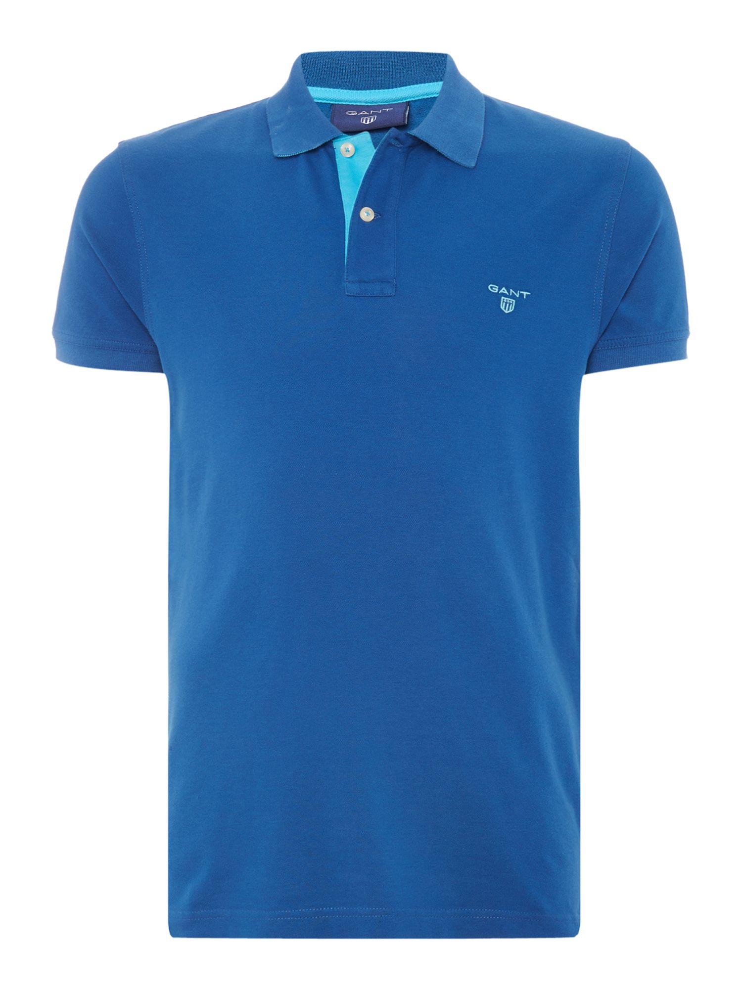 Gant Contrast Collar Polo Shirt In Blue For Men Lyst