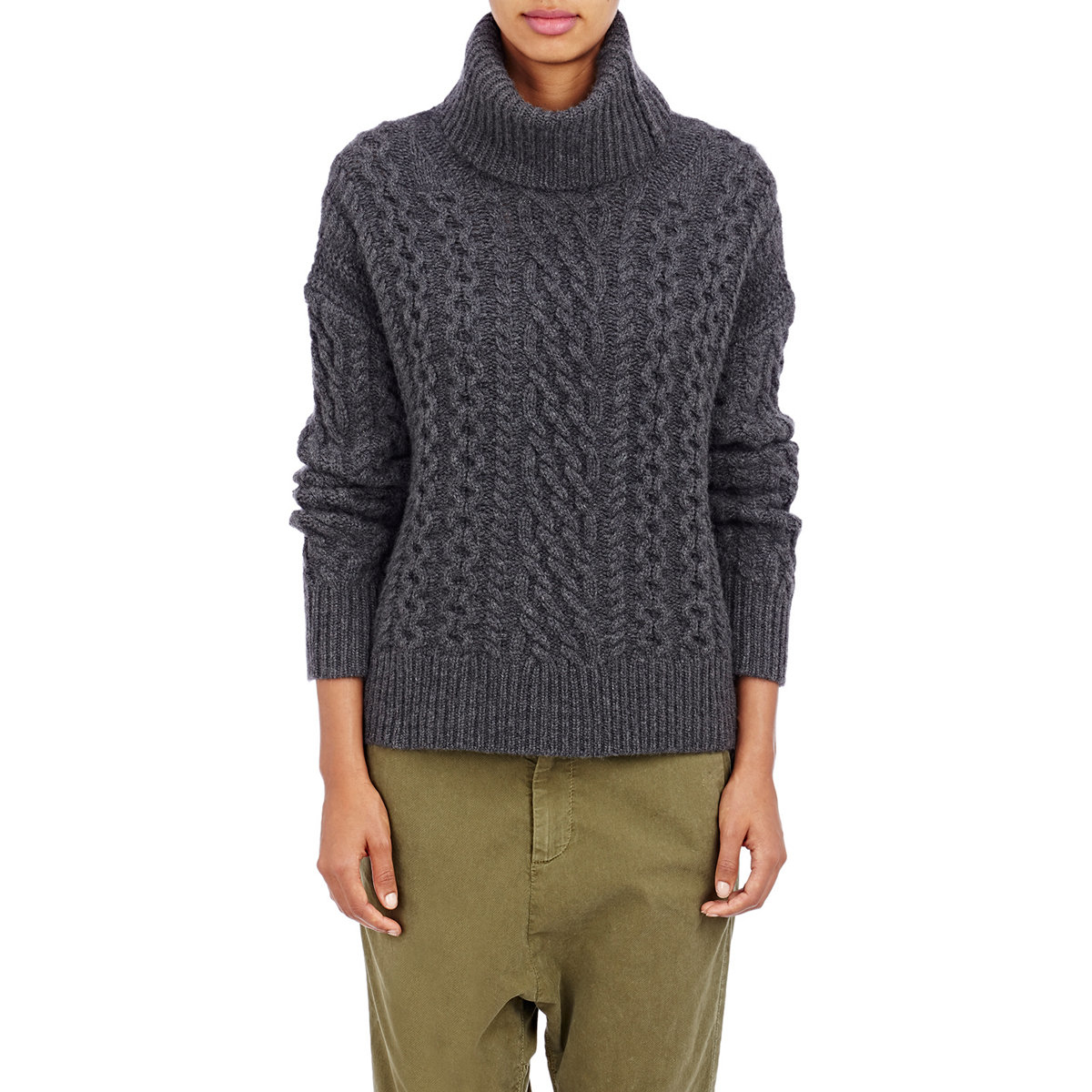 Nili lotan Cable-knit Turtleneck Sweater in Black   Lyst