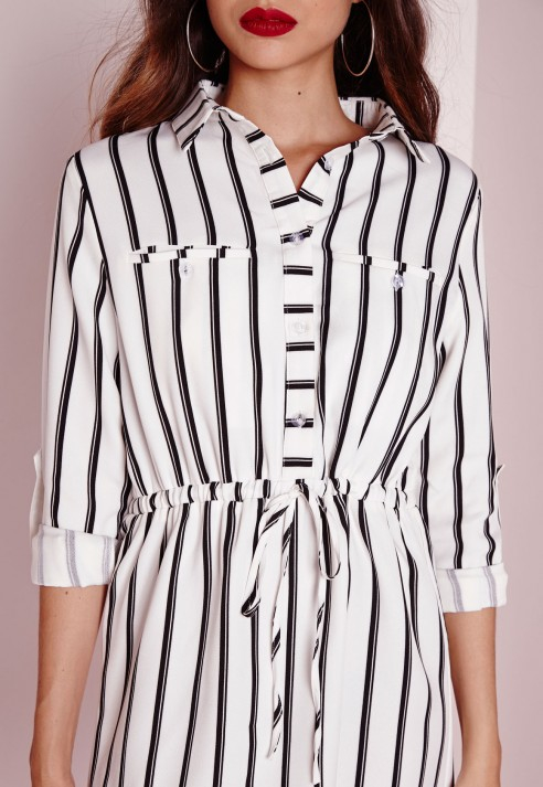 72b8a99ae7 Lyst - Missguided Drawstring Waist Shirt Dress White Stripe in Black