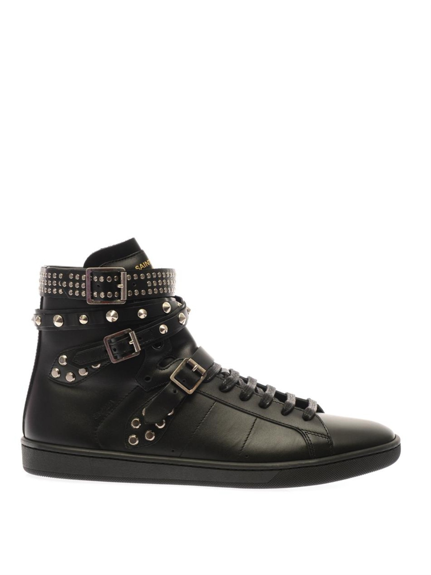 saint laurent wolly studded high top leather sneakers in black lyst. Black Bedroom Furniture Sets. Home Design Ideas